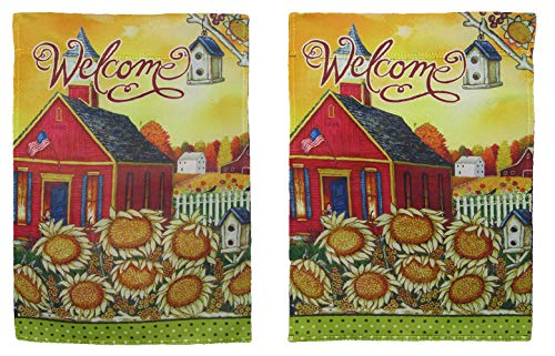 ALBATROS 12 inch x 18 inch Welcome Church Sunflowers Blockout Vertical Sleeve Flag for Garden for Home and Parades, Official Party, All Weather Indoors Outdoors