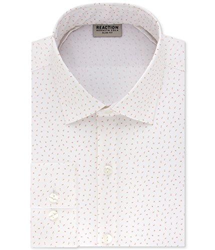 Kenneth Cole Mens Techni-Cole & Flex Collar Button Up Dress Shirt White 15 - Kenneth Cole Long Sleeve Dress Shirt