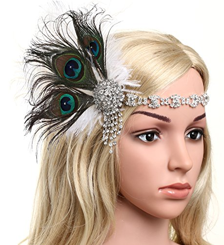 BABEYOND 1920s Flapper Headband Roaring 20s Headpiece Gatsby Peacock Feather Headpiece with Crystal (Peacock)]()