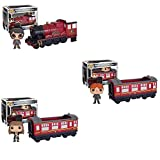 Harry Potter Hogwarts Express Engine Vehicle with Harry Potter, Ron Weasley, Hermione Granger Pop! Vinyl Figures Set of 3