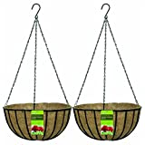 Cheap Gardman R408 Black Traditional Hanging Basket with Coco Liner, 14″ Diameter (2)