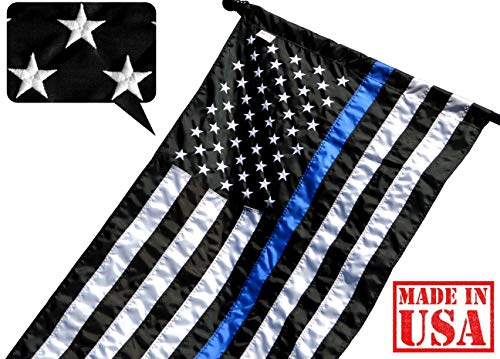 US Flag Factory 2.5'x4' Thin Blue Line American Flag (Pole Sleeve) (Embroidered Stars, Sewn Stripes) for Police Officers, Blue Lives Matter Flag, Outdoor Nylon - Made in America (2.5x4 FT Pole Sleeve)