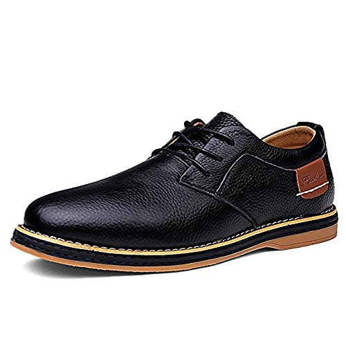 TSIODFO Men's Dress Shoes Black Brown Genuine Cow Leather Oxfords Business Casual Shoes (6111-black-45)