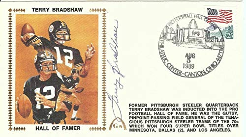 Terry Bradshaw Signed Autographed First Day Cover Cachet 1989 HOFer U06562 - JSA Certified - NFL Cut Signatures