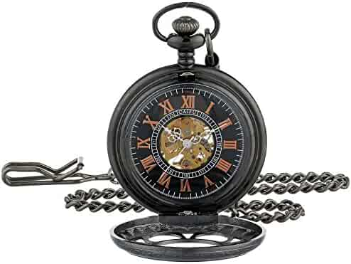 ShoppeWatch Pocket Watch with Chain Black Dial Steampunk Mechanical Hand Wind Up Movement Cosplay PW-19