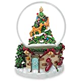 "6.5"" Snowman & Dogs Watching Santa with Reindeer Music Snow Globe"