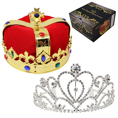 JOYIN Royal Jewleled 2 Pack King's and Queen's Royal Crowns - King Queen Halloween Costume Prom -