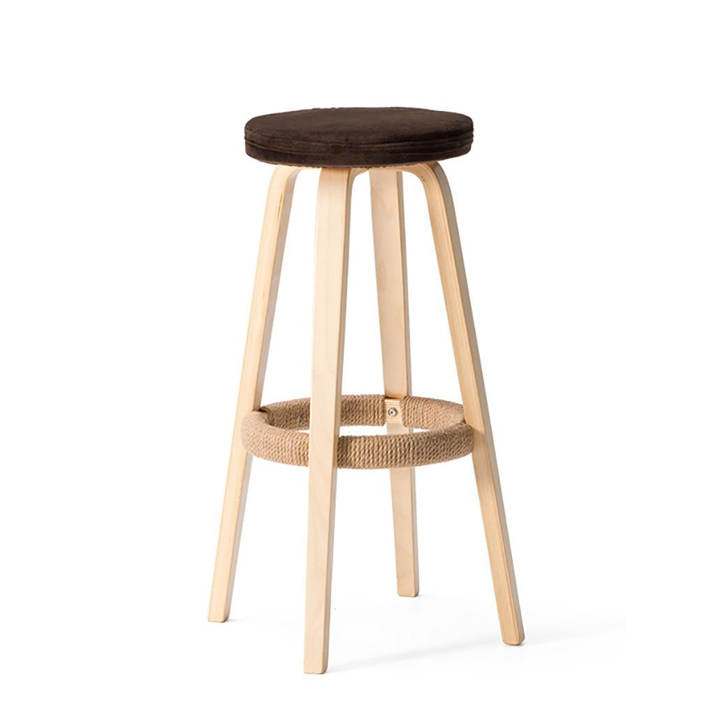 C  2 AIDELAI Bar Stool Chair- Solid Wood Bar Chairs Round High Stool Bar Stool Home Bar Chairs Coffee Phone Shop Stool Bar Chairs Saddle Seat (color   G, Size    1)