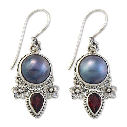 NOVICA Garnet Dyed Blue Cultured Mabe Pearl Sterling Silver Dangle Earrings 'Frangipani Trio'