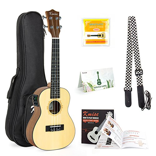 Concert Ukulele Solid Spruce Electric Acoustic 23 inch Ukelele Guitar Uke Kit With Strap Tuner String Gig Bag Instruction Booklet for Beginner by AKLOT