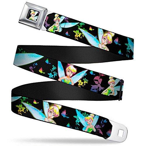 (Glowing Tinker Bell Pose Full Color Seatbelt Belt - Glowing Tinker Bell Poses/Butterflies & Flowers Black/Multi Neon Webbing)