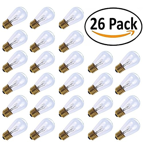MineTom 26-Pack S14 Replacement Light Bulbs - 11 Watt Warm Incandescent Edison Light Bulbs with E26 Medium Base for Commercial Grade Outdoor Patio String Lights (Base Commercial)