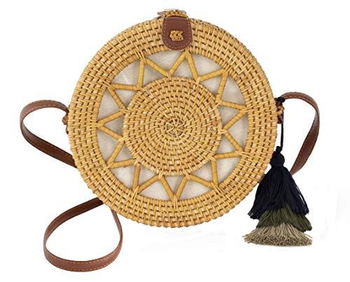 Special Design Wicker Straw Bag Purse for Women | Hand Woven Boho Bali Ata Rattan Crossbody Handbags (Sun Natural) (Market Outdoor Sectional World)
