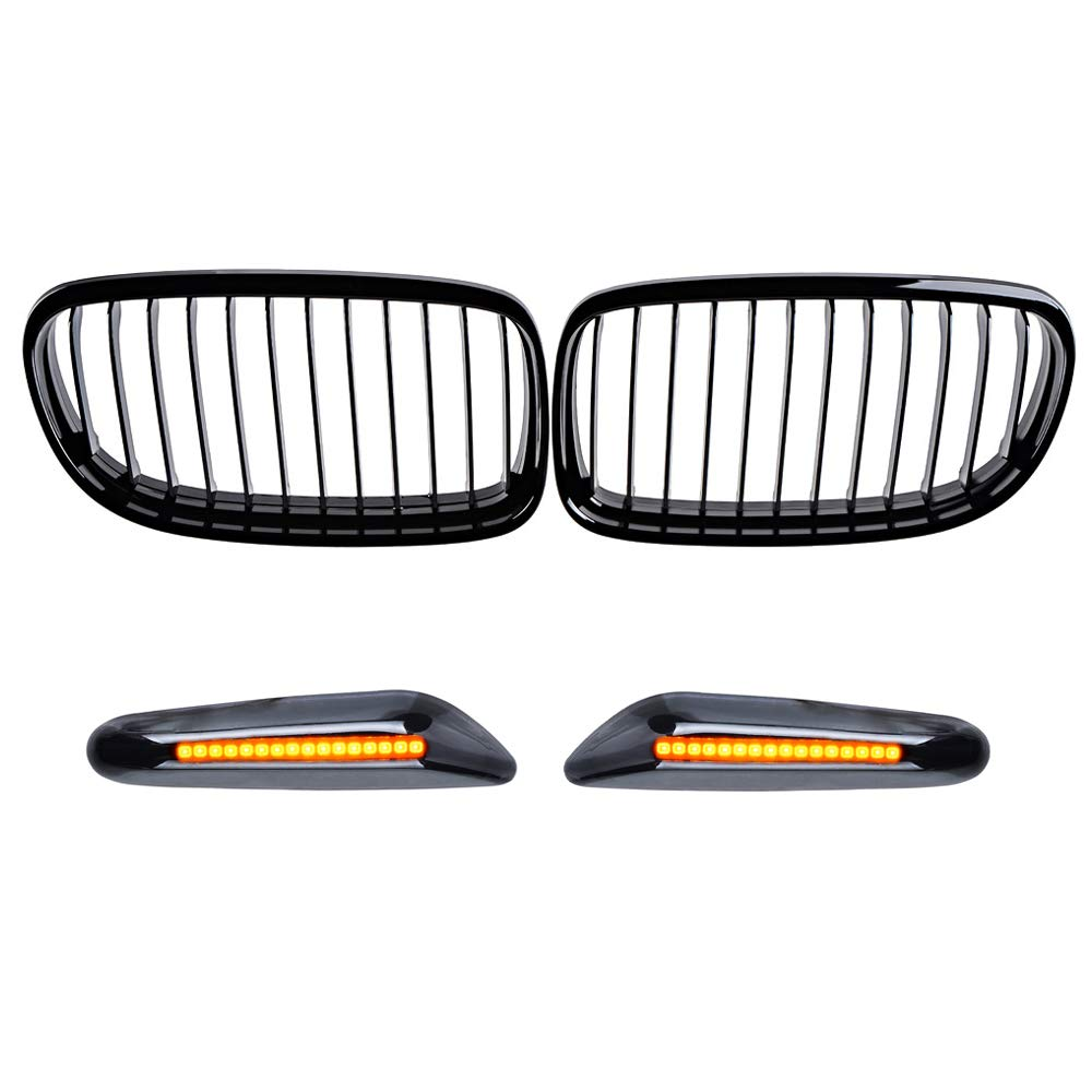 Astra Depot Combo Matte Black Single Line Kidney Grille and Black Smoked Amber 16-LED Side Marker Compatible with BMW 2009-2011 E90 E91 323i 325i 328i 330i 335i 4-Door Facelift LCI