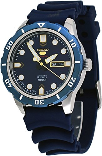 Seiko 5 Sports #SRP677J2 Men's Japan Resin Band Blue Dial 100M Automatic (5 Sports Automatic Blue Dial)