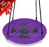 Play Platoon 30 Inch Flying Saucer Tree Swing - Purple, 400 lb Weight Capacity, Fully Assembled, Easy Setup