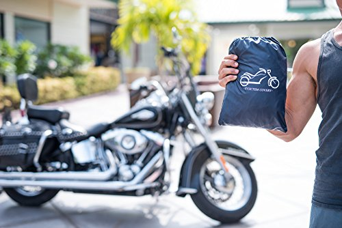 XYZCTEM All Season Black Waterproof Sun Motorcycle Cover,Fits up to 108'' Motors (XX Large & Lockholes) by XYZCTEM (Image #6)