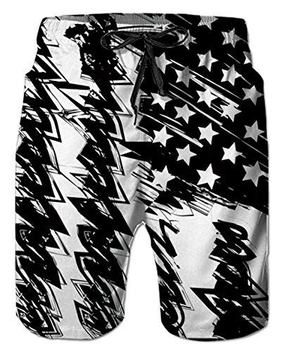 Mens Beach Shorts 3D Digital Print Patriots Tie-Dye Fun Pattern White Black Athletic Mesh Liner Sports Swimwear High Waisted Spandex Compression Boardshorts Swim Trunks for Big Teen Boy Casual Home ()