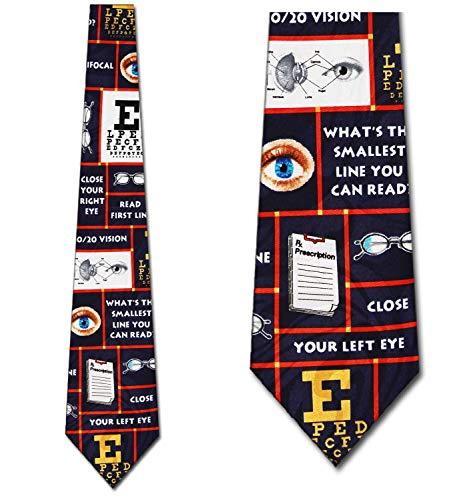 Optometry Ties Eye Neckties Optometry tie Navy Mens Neck tie