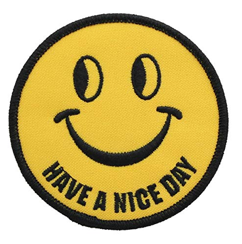 (Smiley Face Have a Nice Day Iron-On Fabric Patch Yellow)
