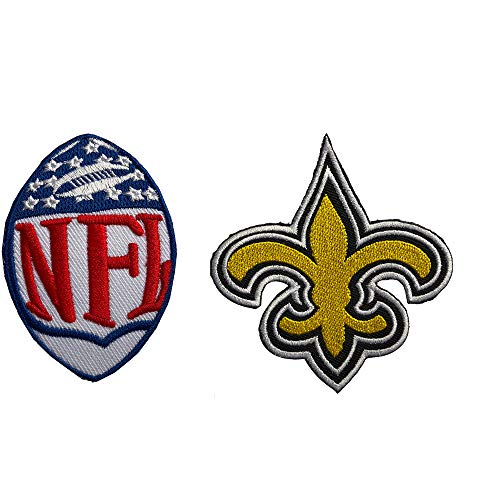 Hipatch New Orleans Saints Embroidered Patch Iron on Logo Vest Jacket Cap Hoodie Backpack Patch Iron On/sew on Patch Set of 2Pcs