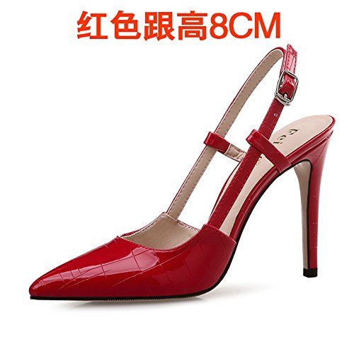 VIVIOO Heeled Heeled Female Heeled Women'S Empty Small Sandals Size High Baotou Sandals With Red The The Sandals High Of High Yards Tip 8cm Shoessummer Yrrfwt