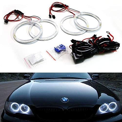 - iJDMTOY 7000K Xenon White 240-SMD LED Angel Eyes Halo Ring Lighting Kit for 2004 2005 2006 BMW E46 3 Series 325ci 330ci LCI Coupe ONLY