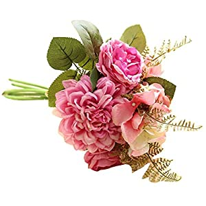 MARJON FlowersDahlia Silk Bouquet,Artificial Fake Flowers Plastic Floral Bridal Wedding Party Home Decor (Hot Pink) 92