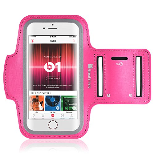 """Price comparison product image iPhone 7 Plus Armband, GreatShield FIT Neoprene Stretchable Waterproof Arm Holder for Sports & Fitness Phone Case during Running, Workout, Gym with Key Slot for Apple iPhone 7 Plus (5.5"""") - (Pink)"""