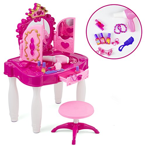 Pretend Play Kids Vanity Table and Chair Beauty Mirror and Accesories Play Set with Fashion & Makeup Accessories for - Play Mirror Kids