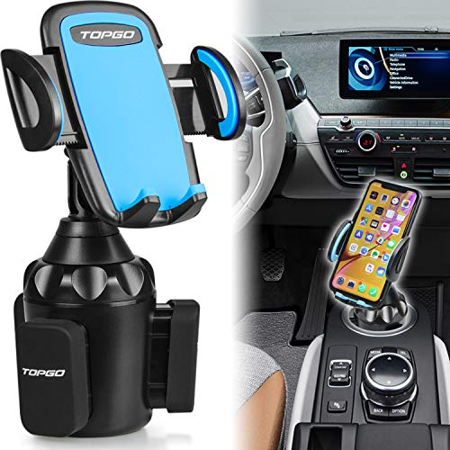 [Upgraded] TOPGO Universal Adjustable Cup Holder Cradle Car Mount for Cell Phone iPhone Xs/XS Max/X/8/7 Plus/Galaxy (Blue) from TOPGO