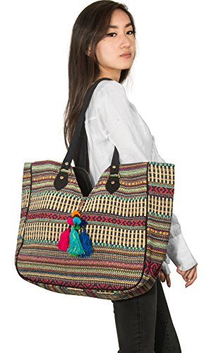 TribeAzure Large Women Shoulder Bag Tote Aztec Handbag Tassel School Everyday Beach Picnic Grocery Laptop Photo #8