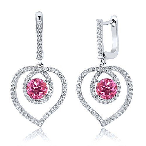 4.40 Ct Pink Mystic Topaz 925 Sterling Silver Heart Dangling Earrings (Topaz Pink Dangling Earring)