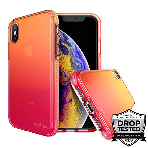 Prodigee [Safetee Flow] Passion for iPhone Xs Max (2018) 6.5'' Case Pink Rose Orange Clear Transparen Military Drop Shock Test Protective Thin Slim Gradient Multicolor Cover -