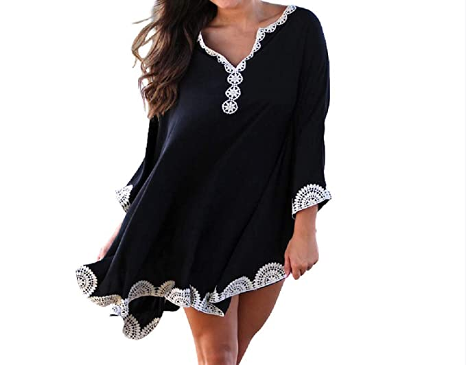 bfaac38bdb Image Unavailable. Image not available for. Color: NFASHIONSO Women's  Swimwear Cover Ups Beach Dresses ...