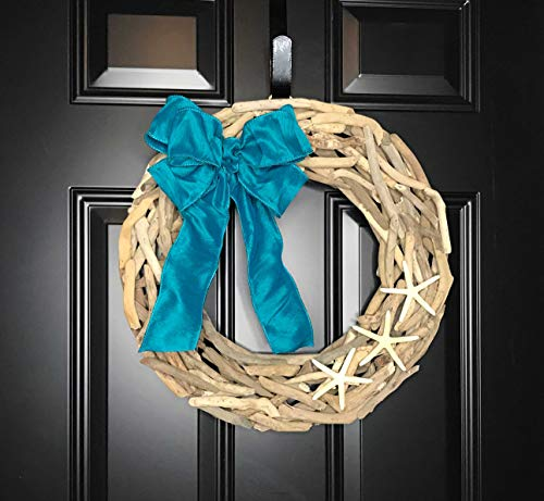 Natural Driftwood Wreath with Starfish & Teal Blue Bow for Front Door Summer Summertime Spring Winter Fall Year Round Cottage Nautical Beach Coastal Home Decor, Beach Lover Gift, Handmade 19""