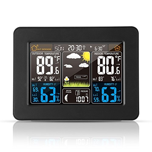 Atomic Wireless Weather Station with Indoor / Outdoor Wireless Sensor – TG645 Color Display Weather Station Alarm Clock With Temperature Alerts, Forecasting by Think (Weather Station Clock Displays)