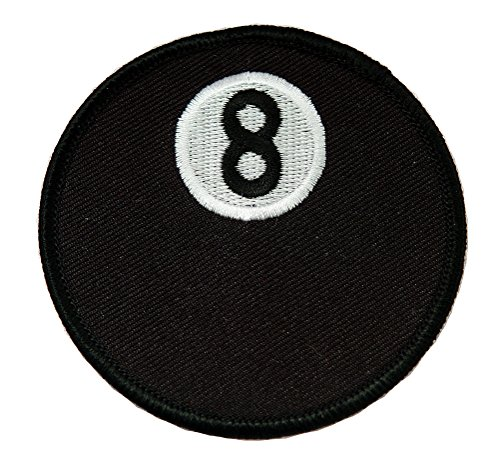 Eight Ball Embroidered Billiards Patch 8-Ball Pool Iron-On Emblem (Snooker Ball Diameter)
