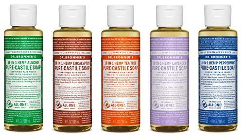 4 Ounce Sampler - Dr. Bronner's 4 Ounce Sampler- 5 Piece Gift Set. 5, 4 Ounce Castile Liquid Soaps in Almond, Eucalyptus, Tea Tree, Lavender, and Peppermint