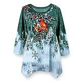 Collections Etc Women's Winter Cardinal Festive Waterfall Tunic, Green, X-Large