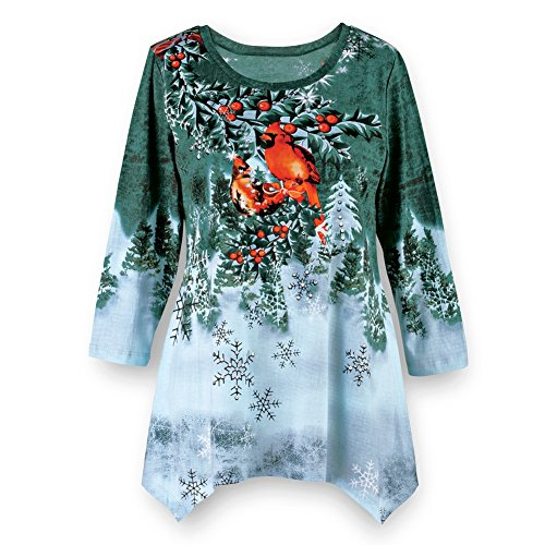 Womens Winter Cardinal Festive Waterfall