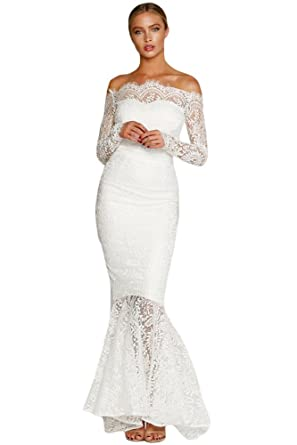 Womens New Eyelash Lace Off The Shoulder Long Sleeve Mermaid Dress Evening Prom Gown White/