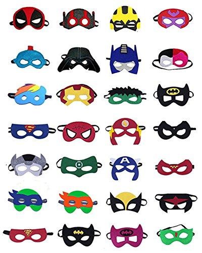 SharpHero Superhero Masks, Superhero Party Supplies (Set of 28) - Superheroes Party Favors Toy -