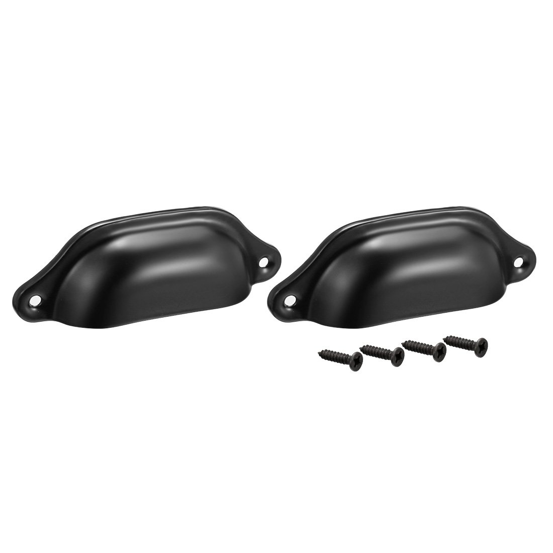 uxcell Cup Drawer Pull Kitchen Cabinet Handles Black 6 Pack a18011600ux0080 83mm Hole Centers
