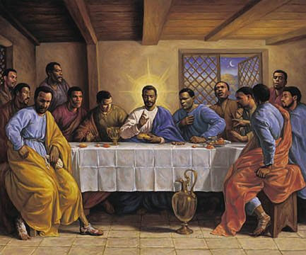 AFRICAN AMERICAN ART PRINT - LAST SUPPER - 24X36 POSTER (Black Jesus Picture)