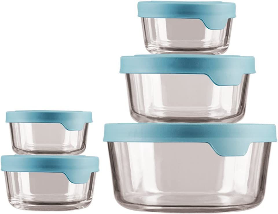 Anchor Hocking 13397ECOM Storage & Food Preperation Glass Food Storage, Set of 10, Mineral Blue