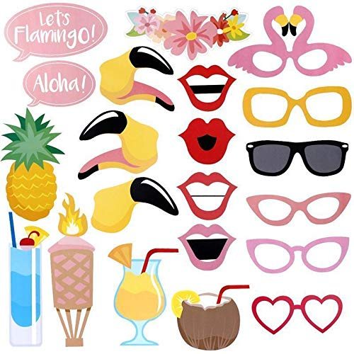 Hawaii Themed Photo Booth Props, 21-Kit DIY Luau Summer Party Supplies for Holiday, Wedding, Summer Festivals Celebrations, Beach Pool Parties ()