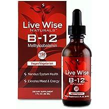 Vitamin B12 Liquid Drops, Sublingual, Methylcobalamin, Vegan, NON GMO, Superior Absorption Over Pills, Capsules, Soft Gels, & Patches, 1000/3000/6000mcg, 3000mcg = 150 servings (2 oz.)