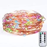Fairy LED String Lights for Bedroom Decorations Christmas Home Battery Powered Dimmable with Remote Control 33Ft/100LEDs Copper Waterproof Decorative Lights, Multi Color