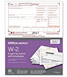#4: Office Depot Brand W-2 Inkjet/Laser Tax Forms With Envelopes, 2-Up, 6-Part, 8 1/2